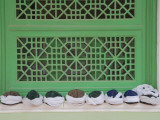 China  Silk Road  Xinjiang Province  Kashgar  Hat by the Green Window in Id Kah Mosque