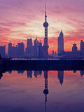 China  Shanghai  Oriental Pearl Tv Tower with Pudong Skyline at Sunrise