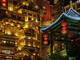 China  Sichuan Province  Chongqing  Night View of Neon Decorated Traditional Architecture
