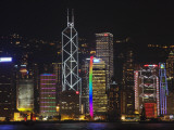 China  Hong Kong  Night View of High Rises by the Waterfront Including Bank of America