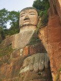 China  Sichuan Province  Leshan  Western Tourists Watch Leshan Giant Buddha from Cruise Ship