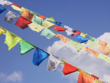 China  Western Sichuan Province  Praying Flags with Blue Sky