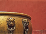 China  Beijing  Forbidden City  Giant Bronze Jar with Red Wall