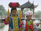 China  Zhejiang Province  Hangzhou  West Lake  Girls Dressed in Qing Dynasty Princess Costume
