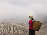China  Guangxi Province  Longsheng  Zhuang Girl with Rice Terraces Covered with Ice and Frost