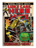 Marvel Comics Retro: Luke Cage  Hero for Hire Comic Book Cover 2  Smashing Wall (aged)