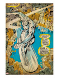 Marvel Comics Retro: Silver Surfer Comic Panel  Over the City (aged)
