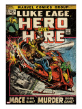 Marvel Comics Retro: Luke Cage  Hero for Hire Comic Book Cover 3  Mace in Helicopter (aged)