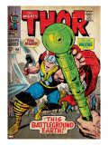 Marvel Comics Retro: The Mighty Thor Comic Book Cover 144  Charging  Swinging Hammer (aged)