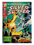 Marvel Comics Retro: Silver Surfer Comic Book Cover 12  Fighting the Abomination (aged)
