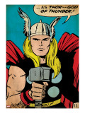 Marvel Comics Retro: Captain America Comic Panel; God of Thunder! Holding Hammer (aged)
