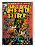 Marvel Comics Retro: Luke Cage  Hero for Hire Comic Book Cover 6  Assassin in Armor! (aged)
