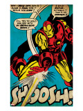 Marvel Comics Retro: The Invincible Iron Man Comic Panel  Fighting and Shooting  Shoosh! (aged)