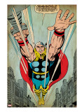 Marvel Comics Retro: Thor Comic Panel  Flying (aged)
