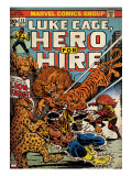 Marvel Comics Retro: Luke Cage  Hero for Hire Comic Book Cover 13  Fighting Lion-fang (aged)
