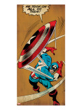 Marvel Comics Retro: Captain America Comic Panel  Throwing Shield (aged)