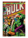 Marvel Comics Retro: The Incredible Hulk Comic Book Cover 181  with Wolverine (aged)