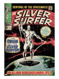 Marvel Comics Retro: Silver Surfer Comic Book Cover 1  Origin (aged)