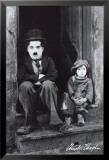 Charlie Chaplin Affiche plastifiée encadrée