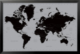 Carte du monde contemporaine en noir et gris Poster en laminé encadré