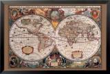Carte du monde du 17ème siècle Poster en laminé encadré