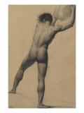Académie : homme vu de dos  soulevant un objet