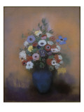 An&#233;mones et lilas dans un vase bleu