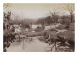Crystal Palace : animaux préhistoriques près du lac
