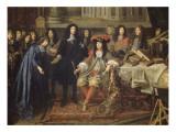Colbert présente à Louis XIV les membres de l'Académie Royale des Sciences crée en 1667