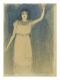 Femme vue en pied  debout  le bras gauche tendu vers le haut