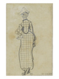 Femme élégante  de dos  portant une robe à carreaux