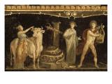Détail du décor pictural du triclinium de la maison des Vettii; scène cultuelle