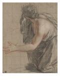 Femme drapée agenouillée  se retournant en ouvrant les bras