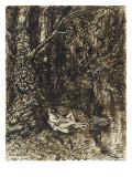 Couple étendu au pied d'un arbre  enlacé et nu  au bord de l'eau