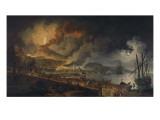 Eruption du Vésuve et vue de Portici