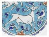 Plat à décor de lièvre  chien  antilope et petit oiseau