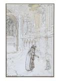 Le Rêve : Enfant abandonné et personnage sous la neige prés d'une église