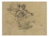 Faust et Méphisto galopant dans la nuit du Sabbat; étude pour la suite de 17 lithographies