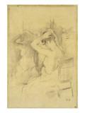 Femme demi-nue vue de dos se coiffant une glace reflétant son corps