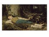 Fillette endormie dans les bois