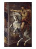 Tenture de cuir peint  les Héros Romains Marcus Curtius