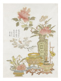 Fleurs et br&#251;le-parfum et po&#232;me de Liang Xian