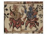 Mobilier religieux : fragment de textile avec des scènes du Ramayana