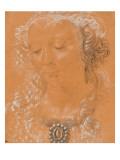 Tête de femme  les yeux baissés  légèrement tournée vers la gauche