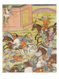Shahnameh de Ferdowsi ou le Livre des Rois Sam décoche une flèche à un arche automate