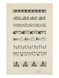 Frise d'éléments floraux et animaliers : raies  dauphins  paons