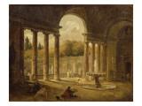 Fontaine sous un portique