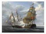 Combat de frégate française Canonnière contre vaisseau anglais Tremendous  21 avril 1806