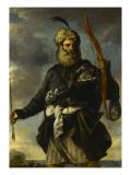 Figure de guerrier oriental tenant un arc