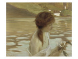 Jeune fille dans un paysage